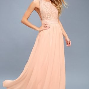 Lulu's Forever and Always Maxi Dress, Blush